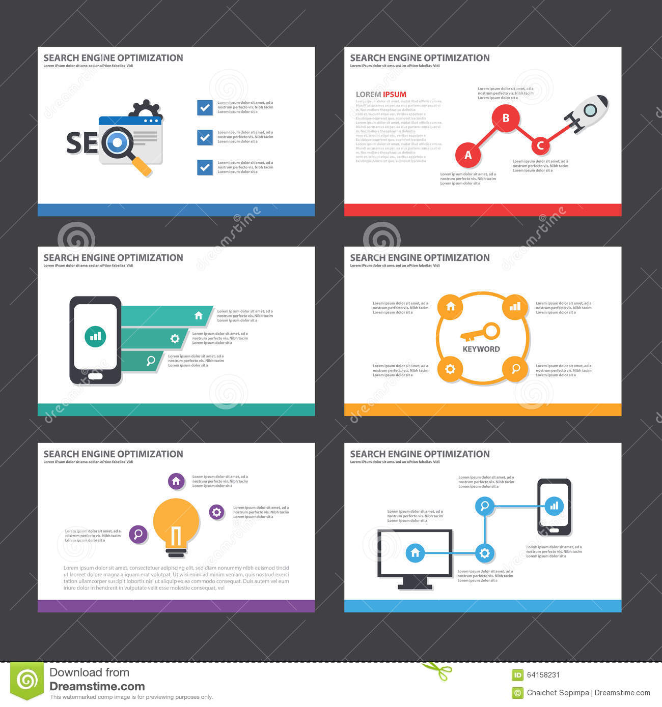 SEO Presentation Template Infographic Elements Flat Design Set For – Marketing Brochure