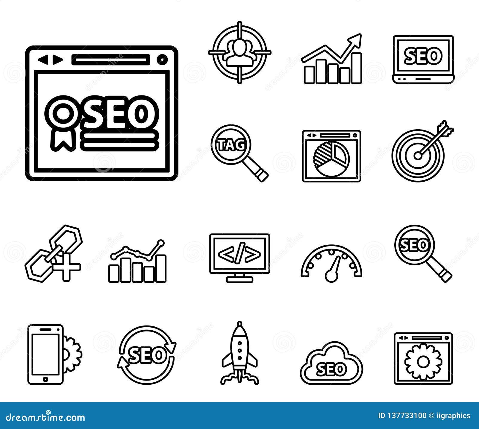 Seo - rengöringsduksymbolsuppsättning