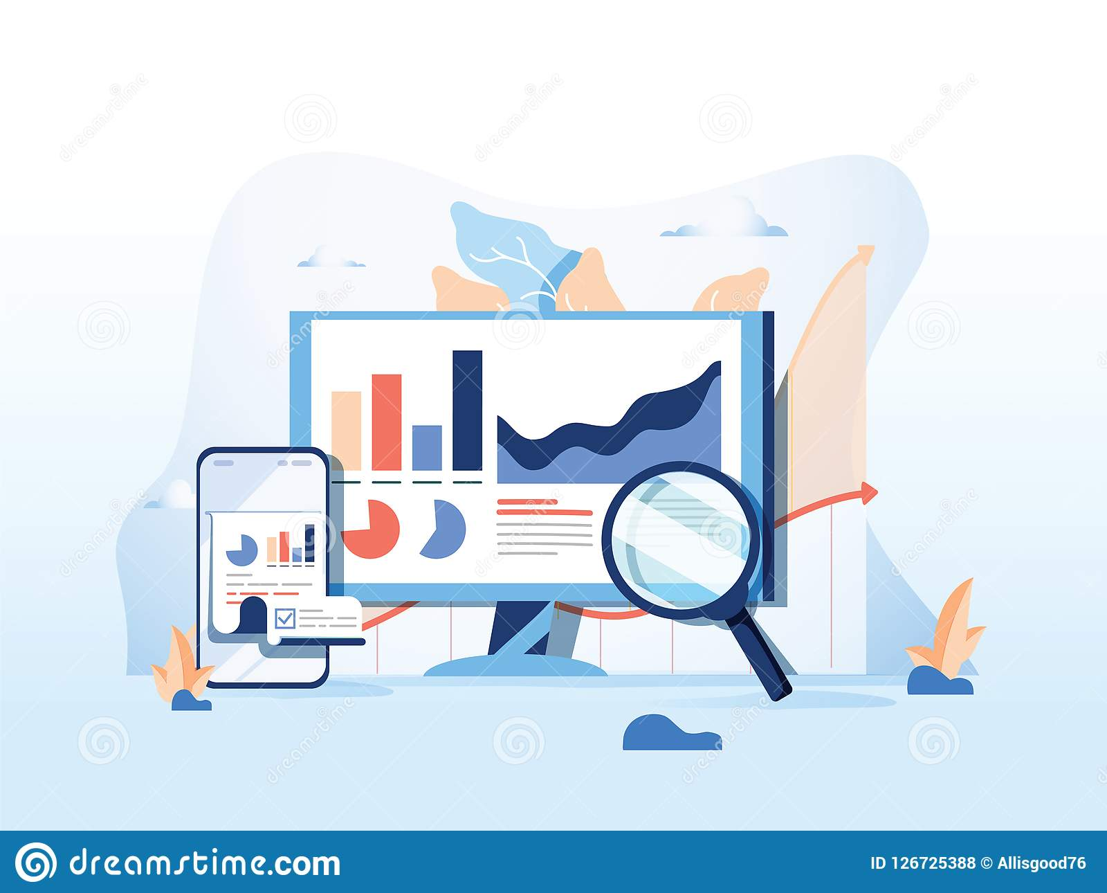 SEO reporting, data monitoring, web traffic analytics, Big data flat vector illustration on blue background.