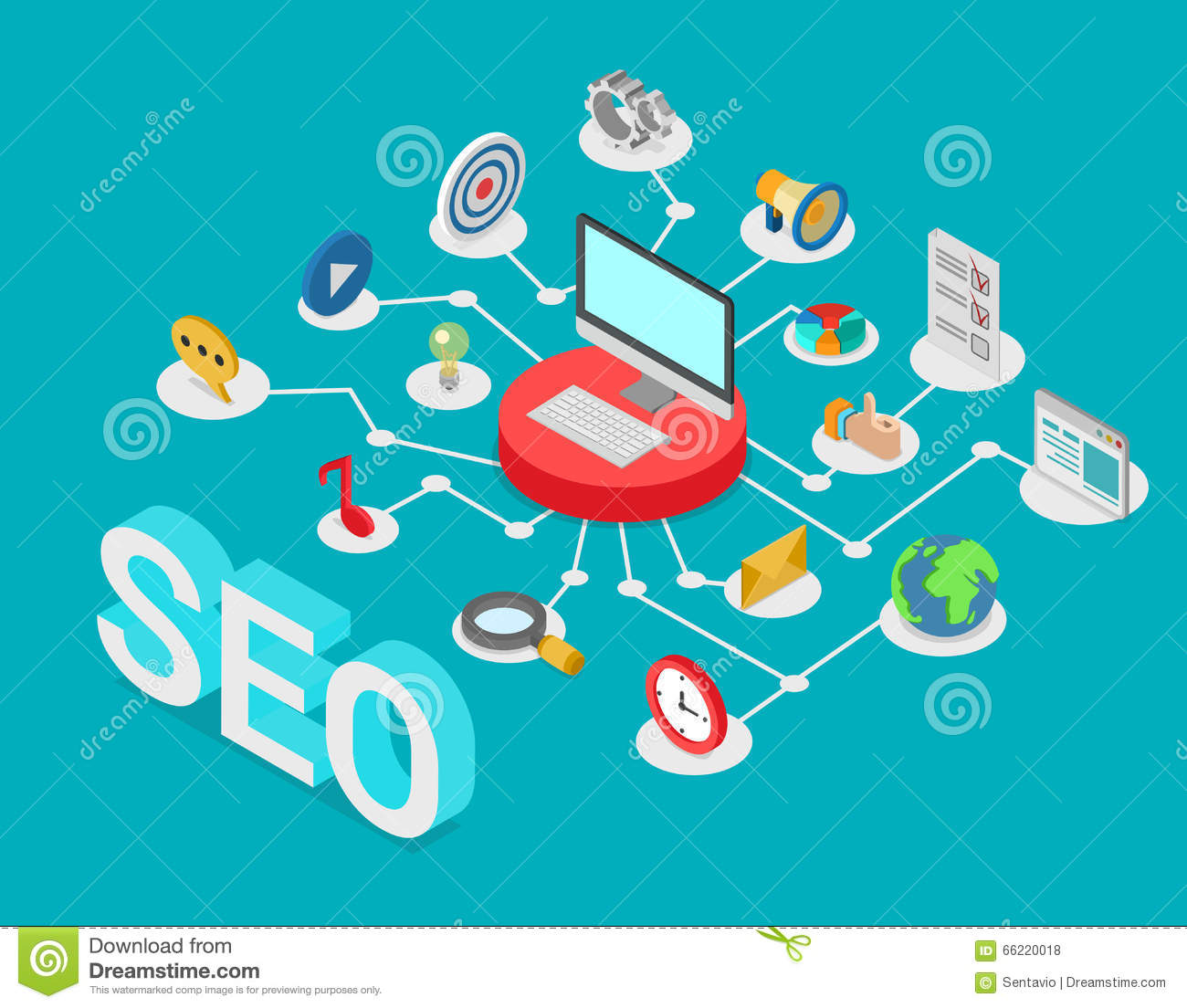 Seo search engine optimization flat 3d isometric vector for 3d search engine