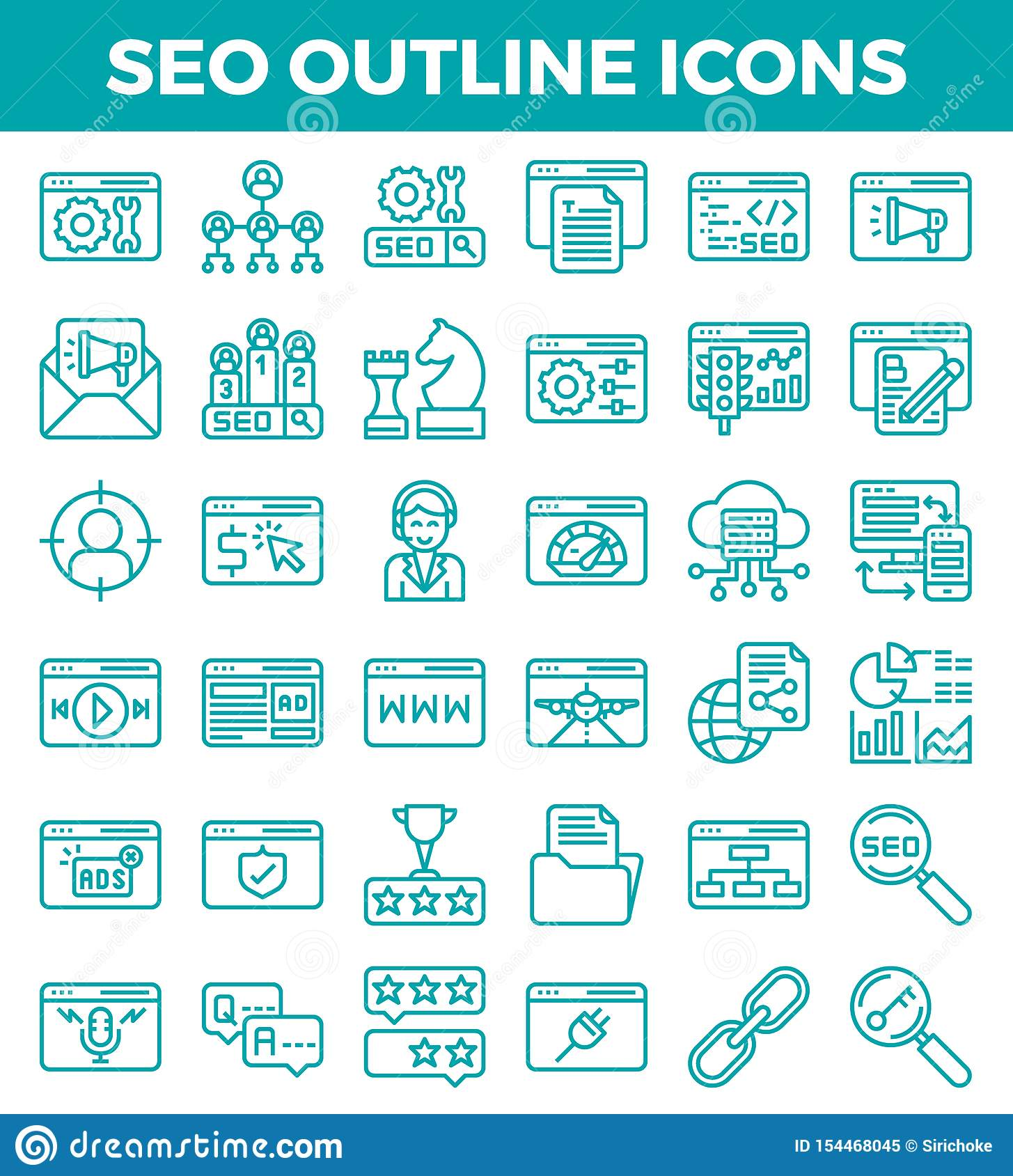 SEO Search engine optimization outline icons. Vector illustration