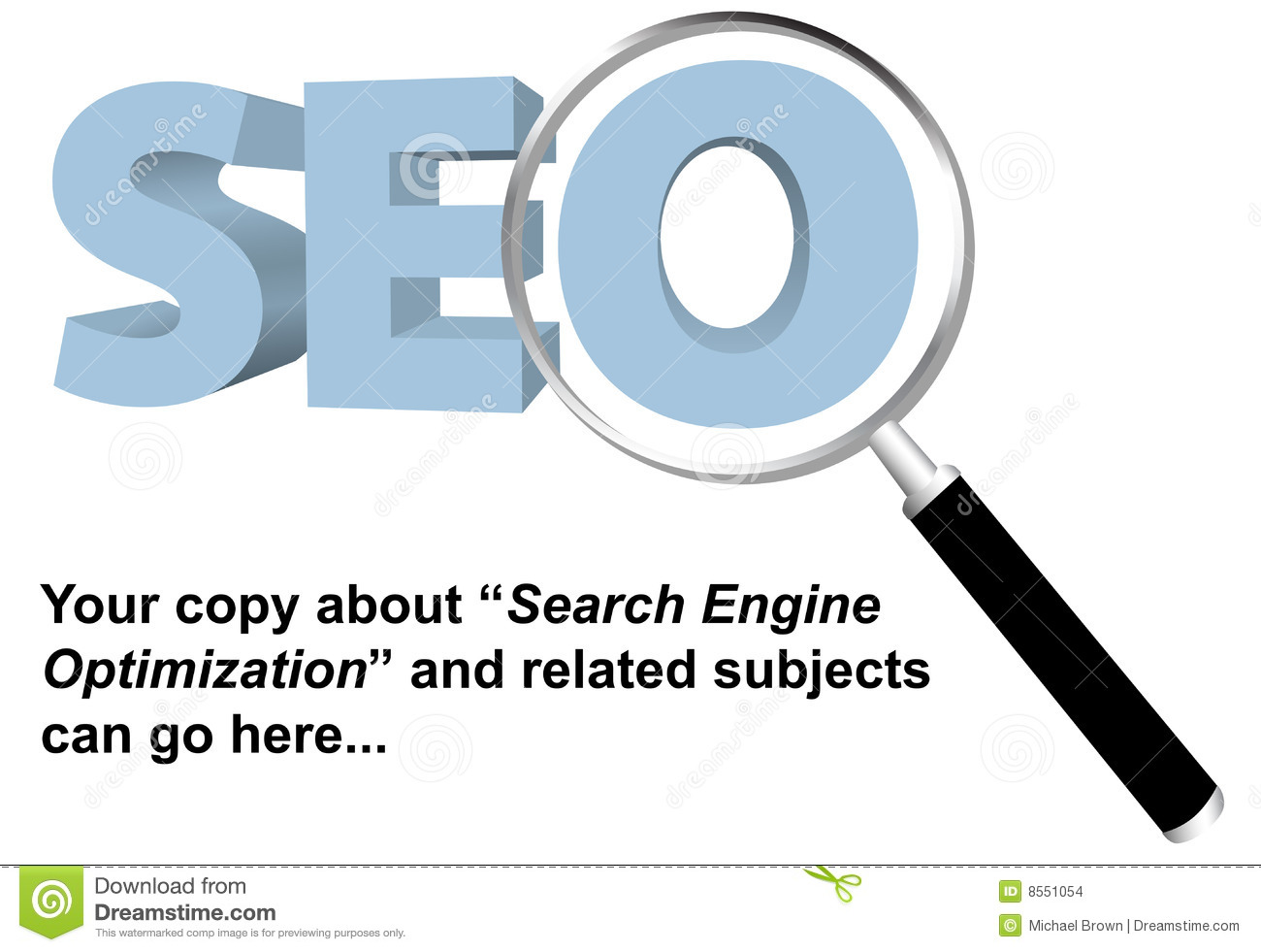 SEO Search Engine Optimized Magnifying Glass Stock Images