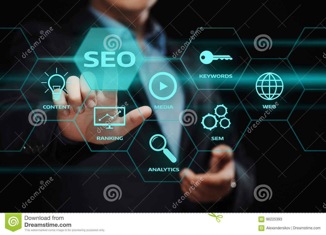 SEO SEM Search Engine Optimization Marketing Ranking Traffic Website Internet Business Technology Concept