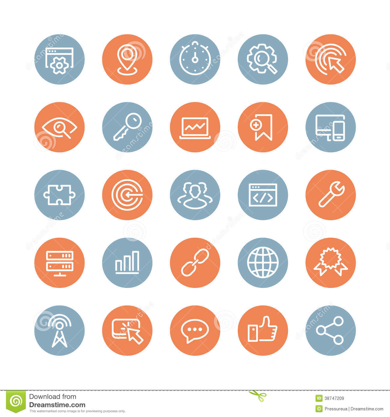 SEO Services Flat Icons Set Stock Vector - Illustration of ...