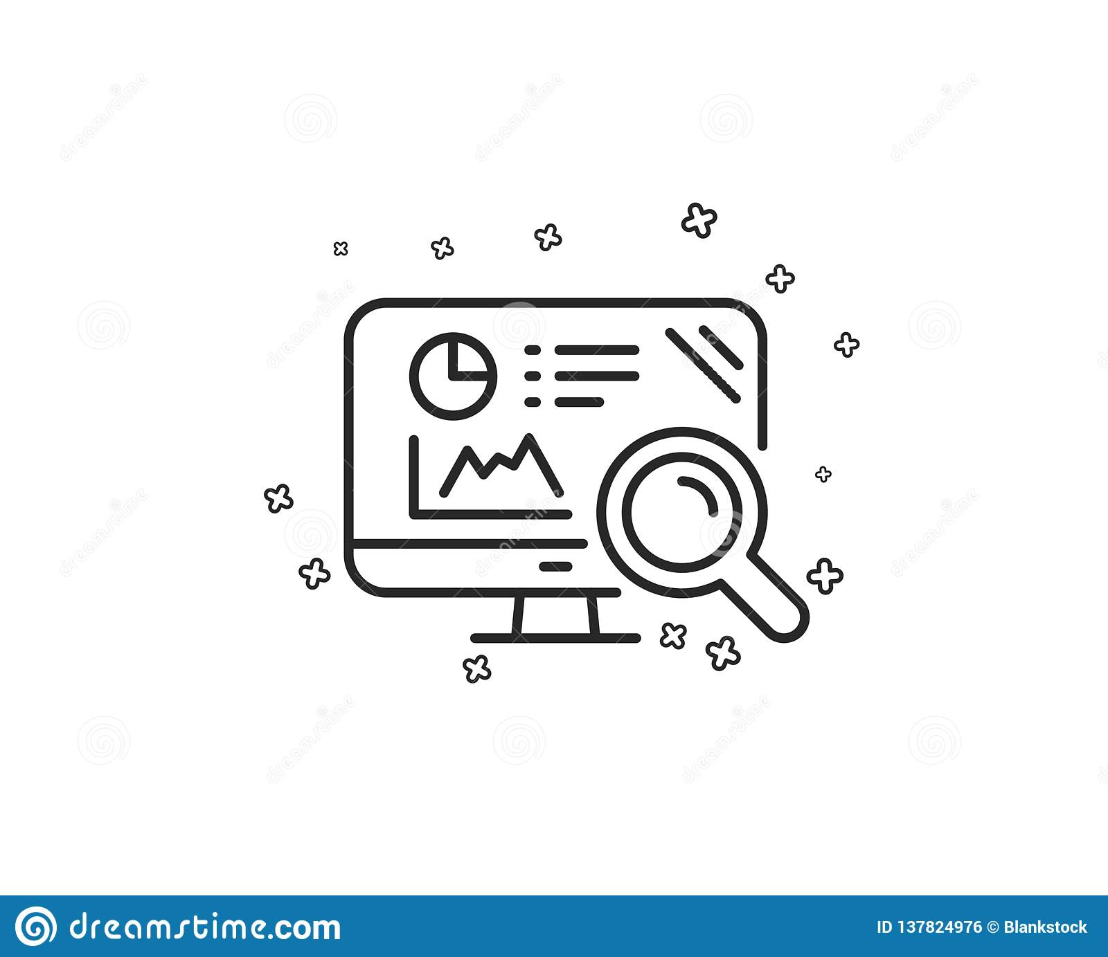 Seo Statistics Line Icon  Search Engine Sign  Vector Stock
