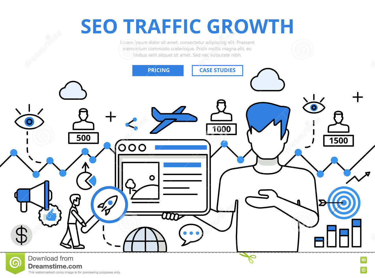 Line Drawing Website : Seo traffic growth concept flat line art vector icons