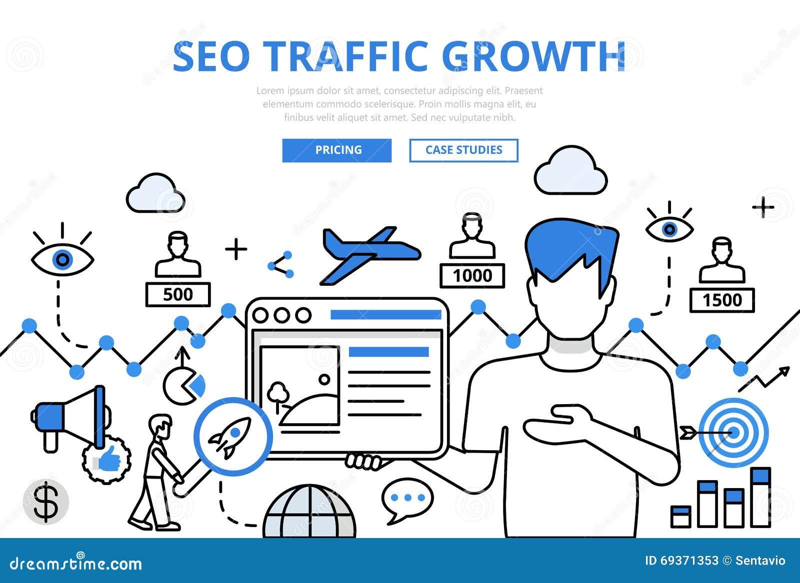 Line Art Website : Seo traffic growth concept flat line art vector icons