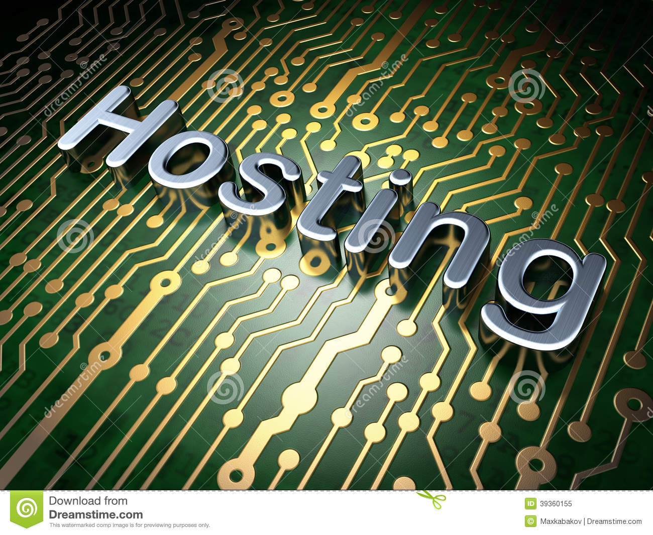 Seo Web Design Concept Hosting On Circuit Board Background Stock Electronic Online