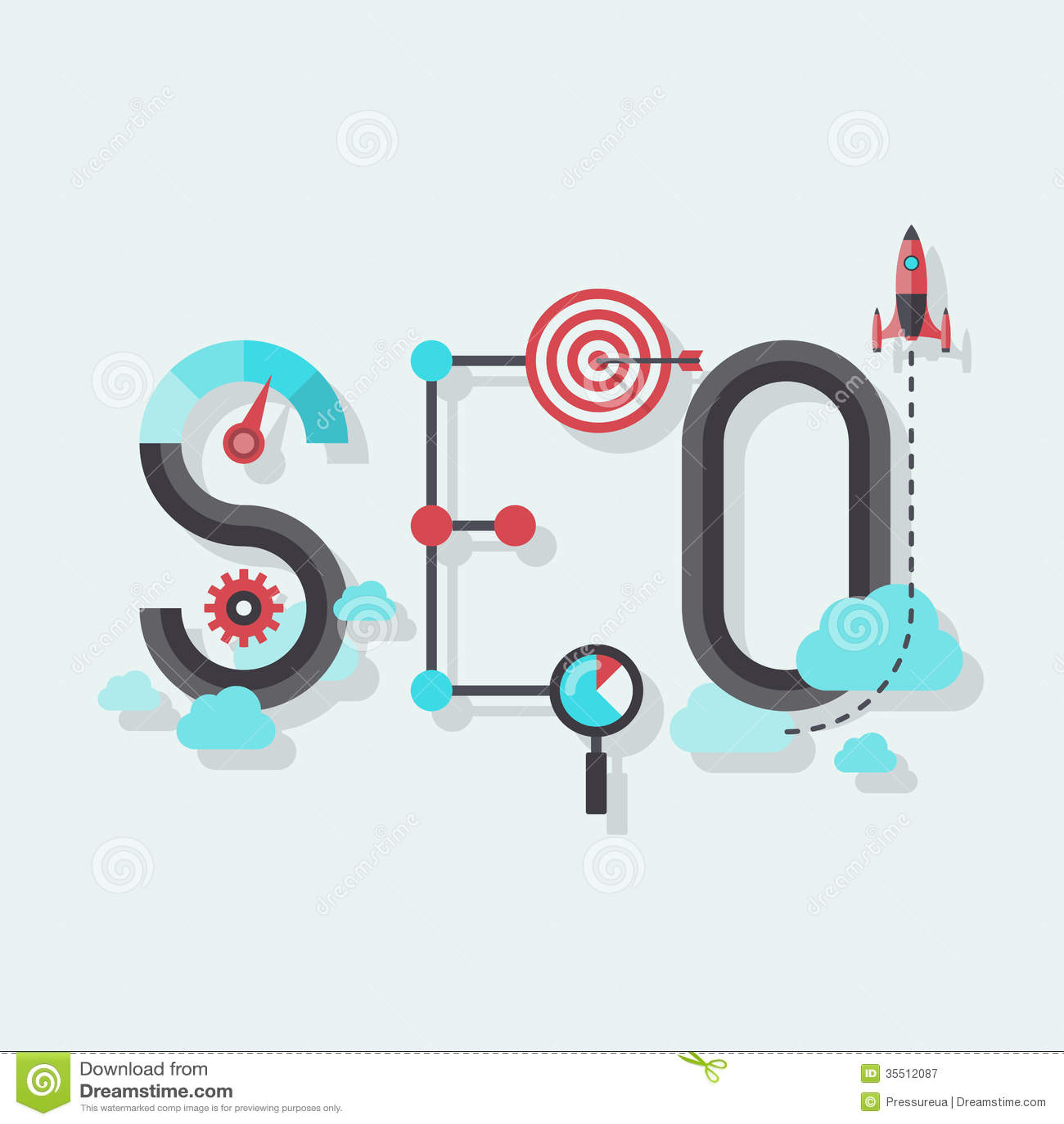 Seo Word Flat Illustration Royalty Free Stock Photography