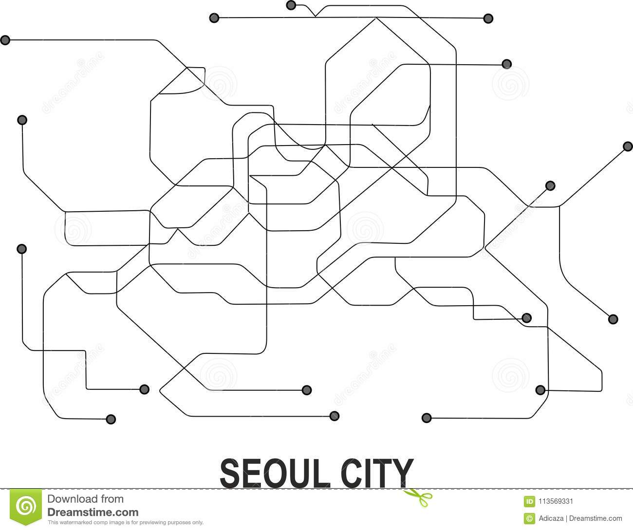 Black White Subway Map.Seoul City Map Stock Vector Illustration Of Format 113569331