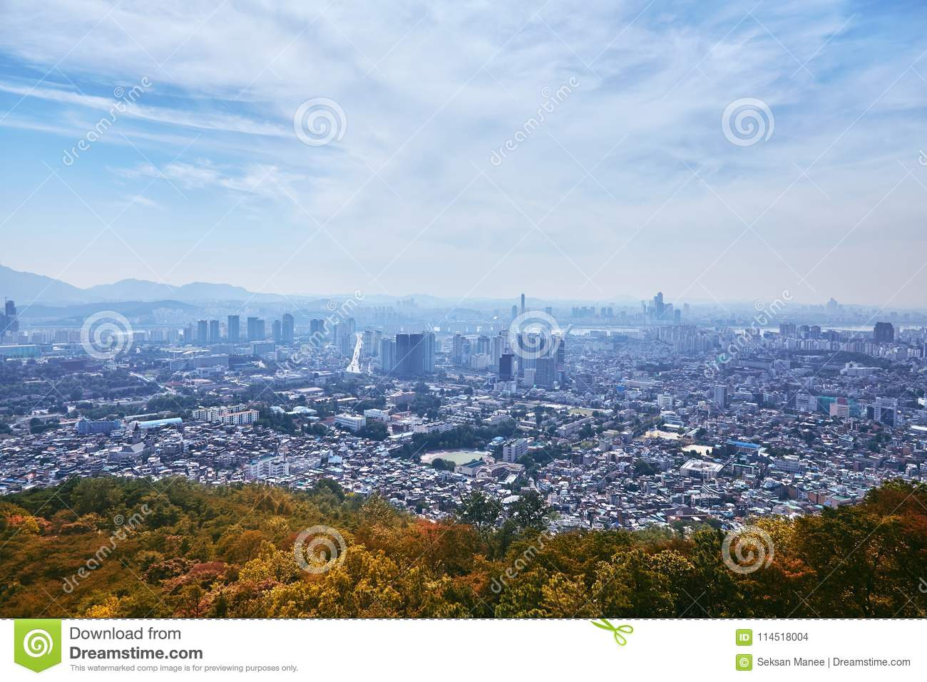 Seoul cityscape, the contrast view between city and nature