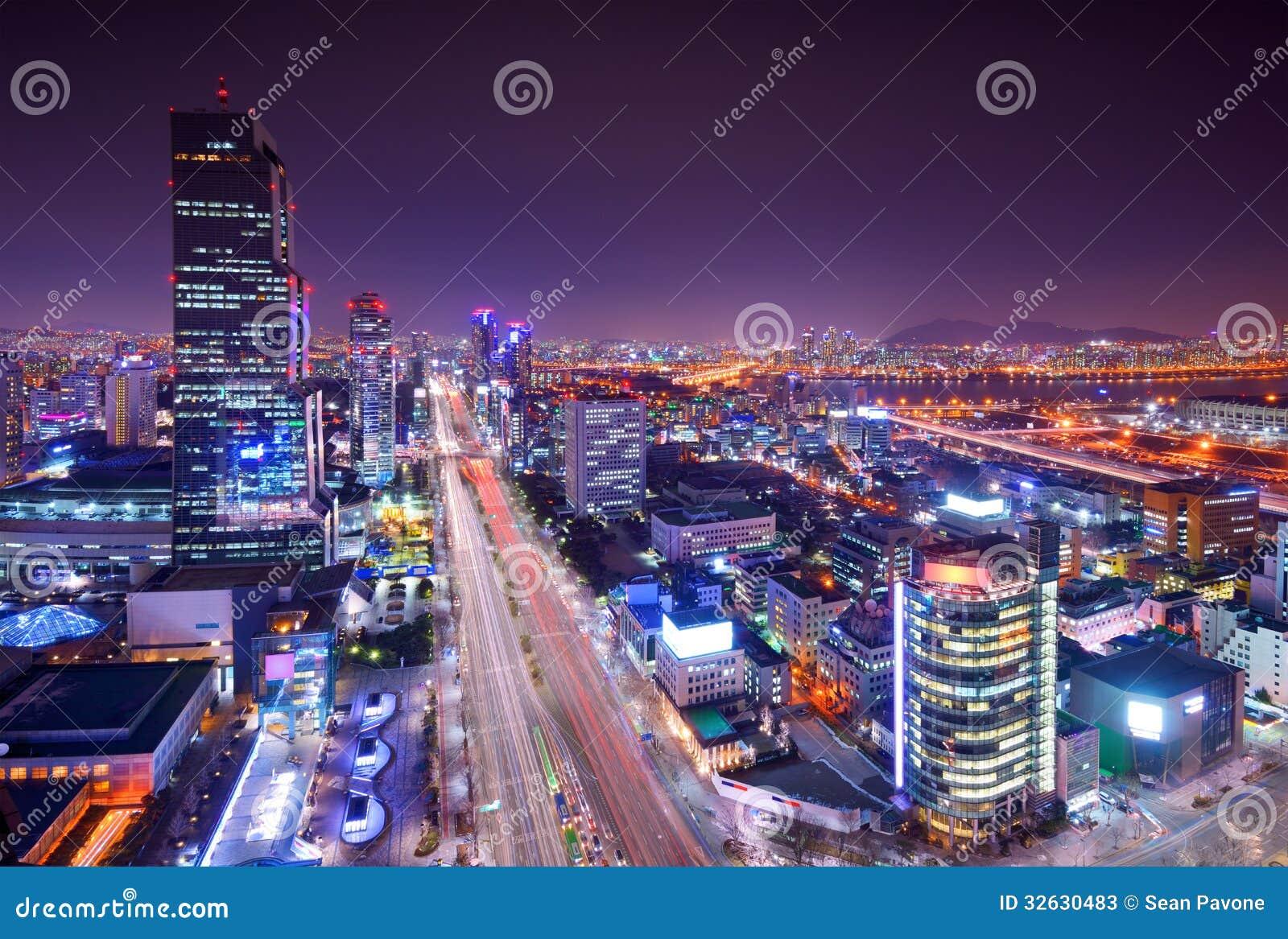 Seoul Gangnam District Skyline Stock Image - Image of ...