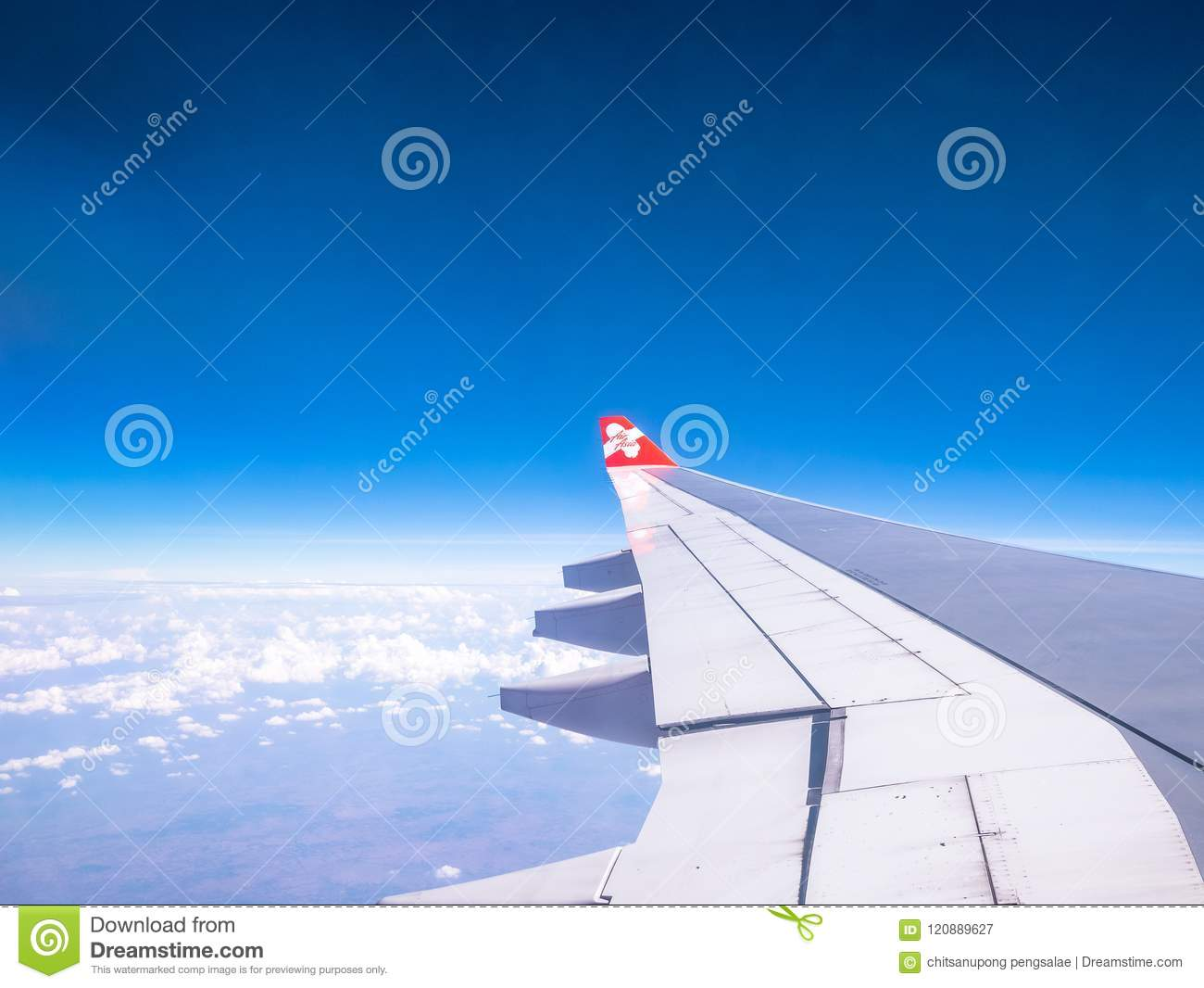 SEOUL SOUTH KOREA APRIL 18 2018:AirAsia plane flying in sky over Incheon International Airport, Seoul on 18 Apr 2018.AirAsia is on