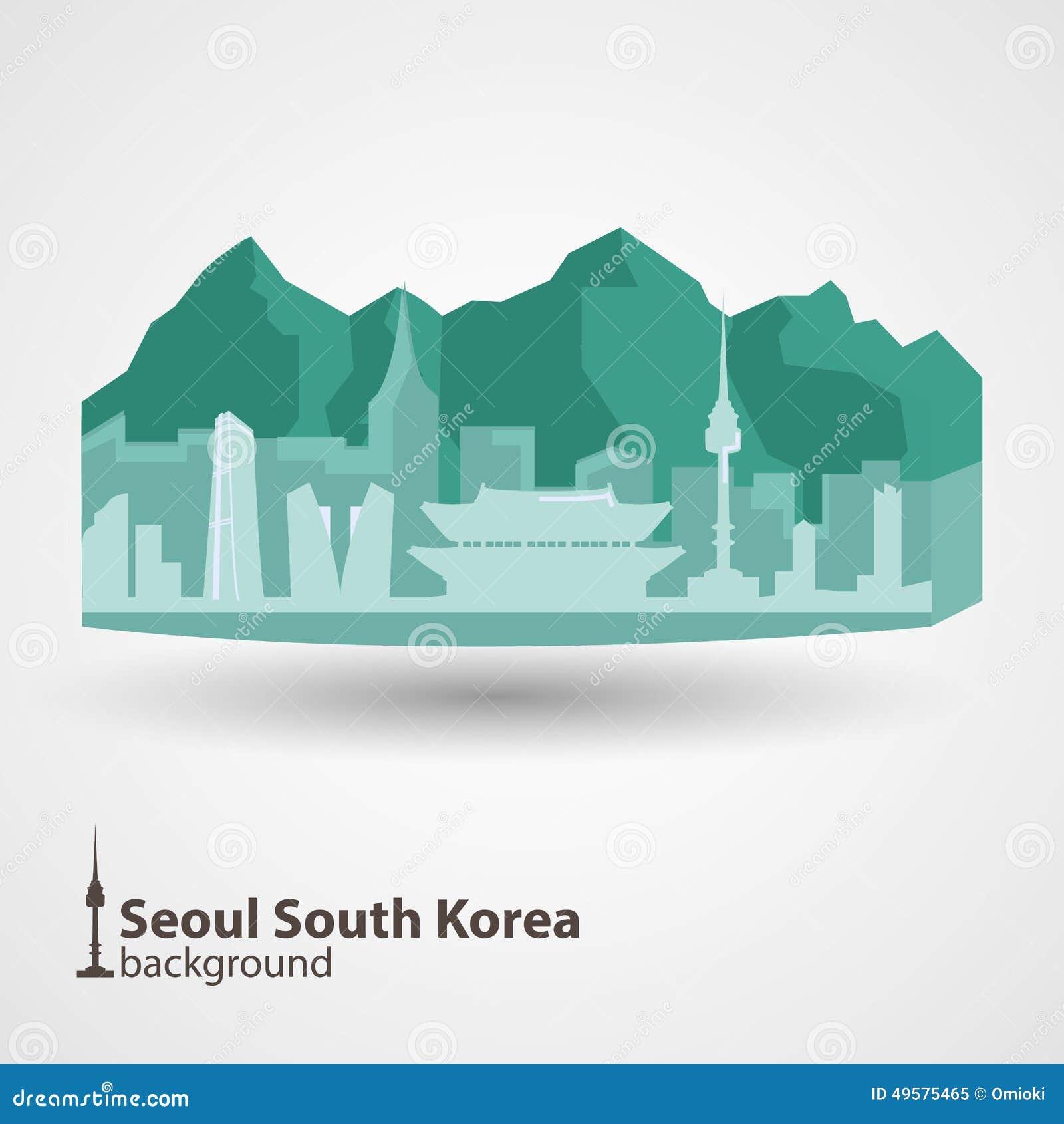 Seoul, South Korea Skyline Illustration Stock Vector - Image: 49575465