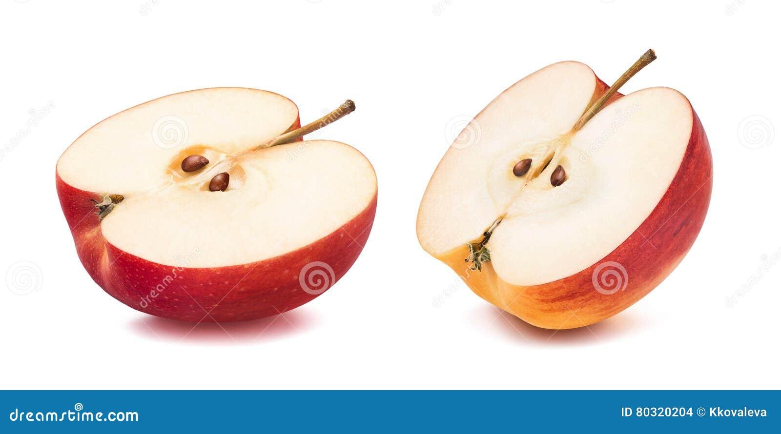 Separat halva för rött äpple som isoleras på vit bakgrund