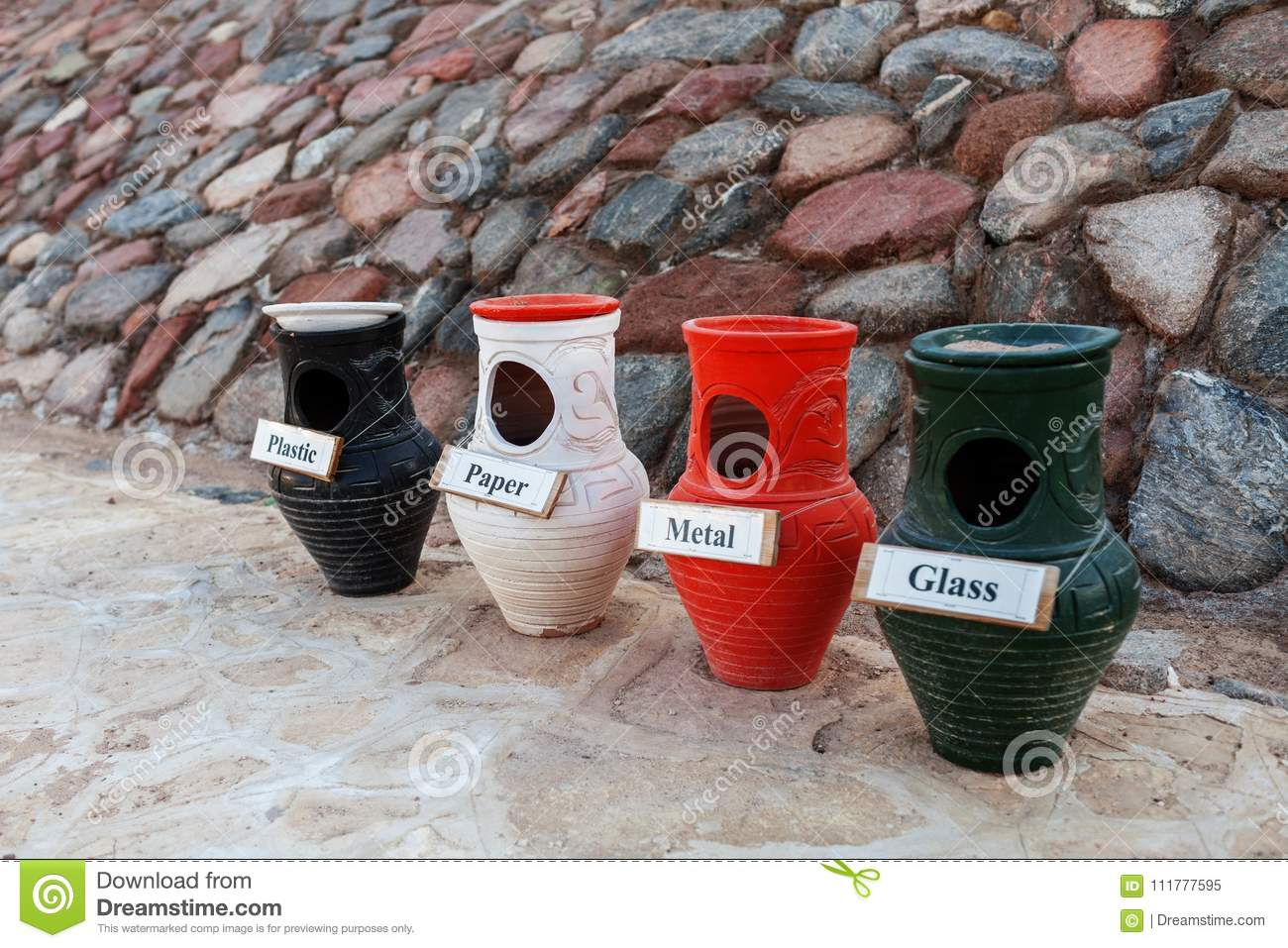 Separate collection of garbage and clay pots.