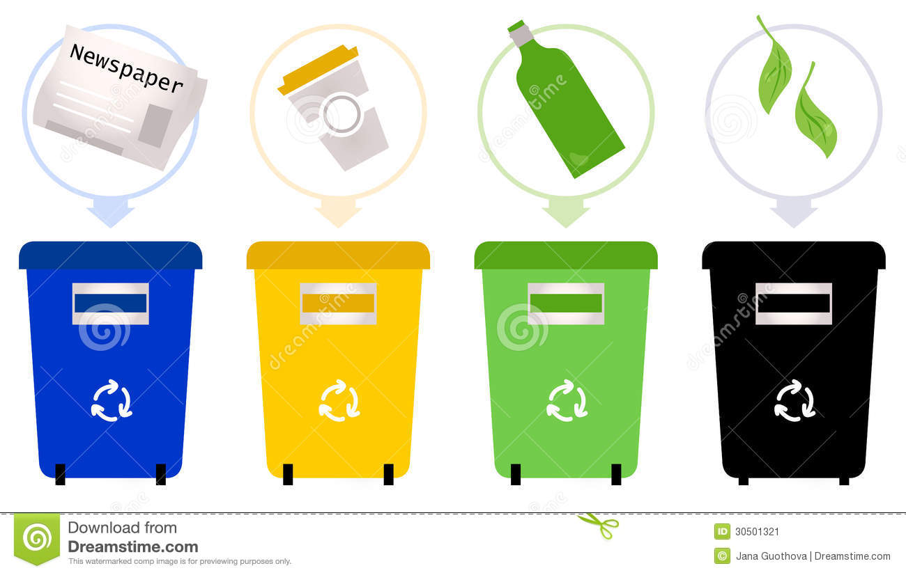 Separate garbage collection set recycle trash bins vector illustration
