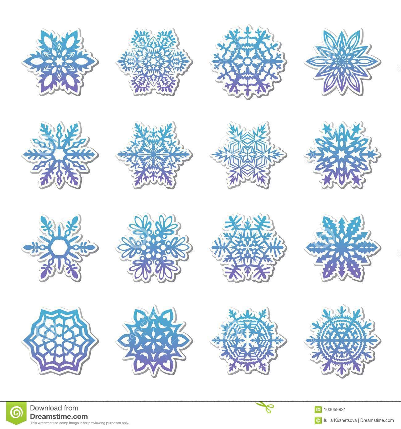 separate snowflakes doodles vector rustic christmas clipart new year snow crystal illustration in flat style