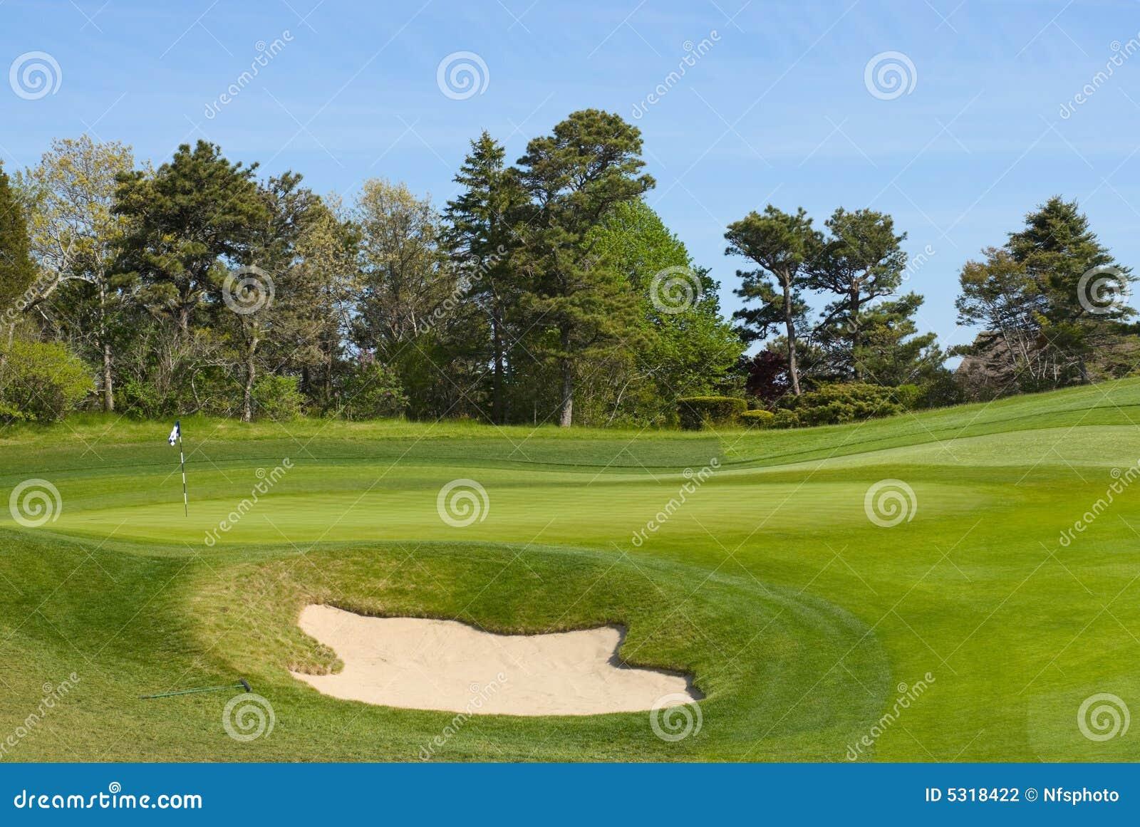 Download Separatore Di Sabbia E Verde Mettente Al Terreno Da Golf Fotografia Stock - Immagine di golf, pino: 5318422