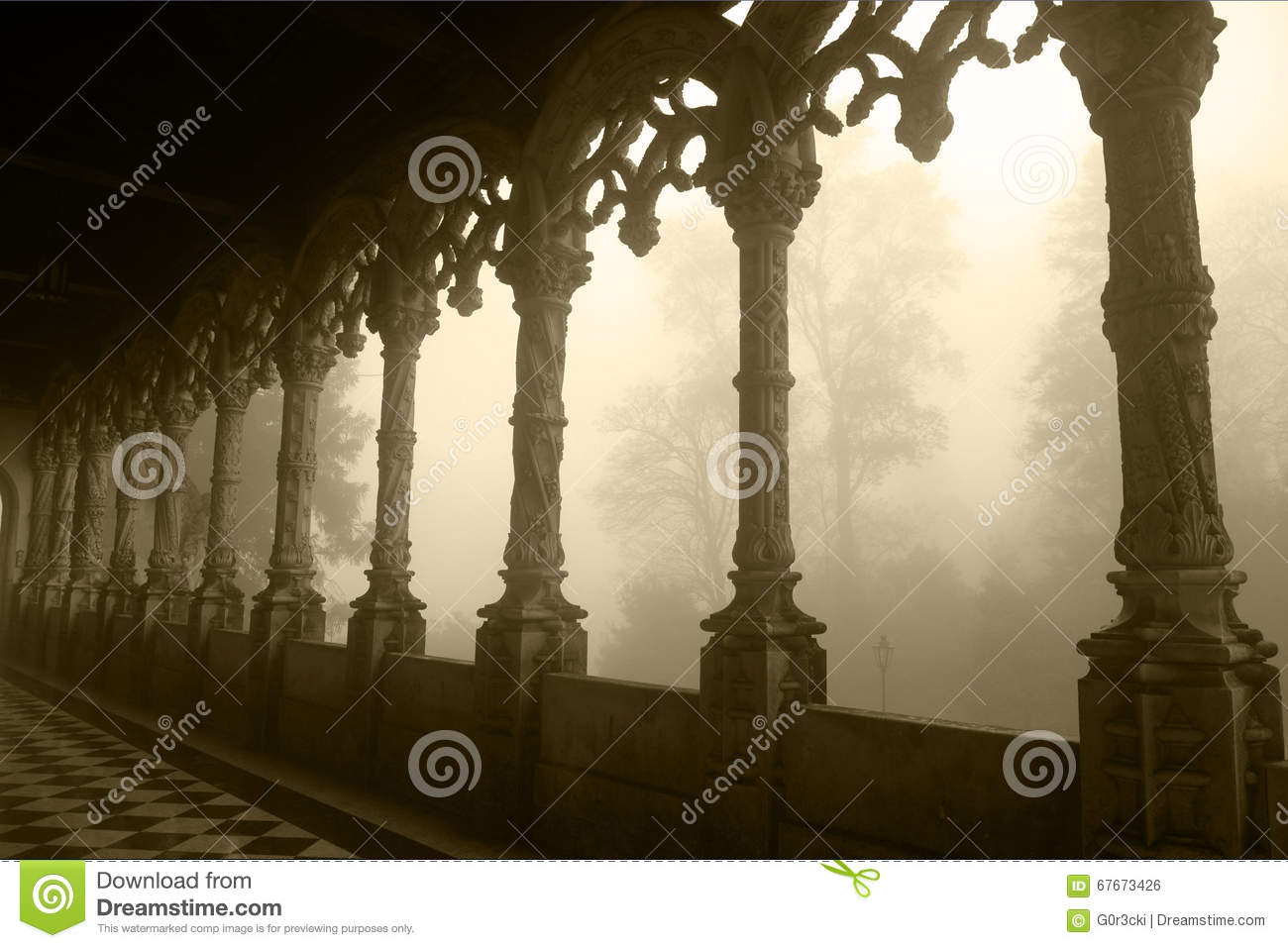 Bussaco Palace - Tracery Arched Gallery, Foggy Day - Sepia Image