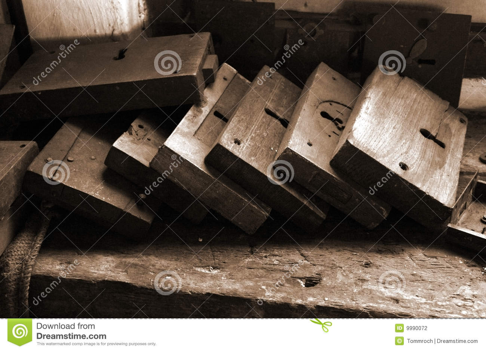Sepia Old Fashioned Locks Stock Photography Image 9990072