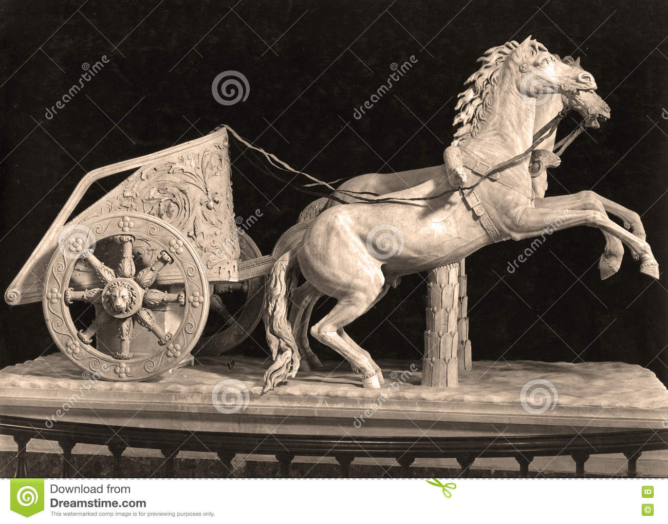 Sepia Tone The Romans Game Two Horses Chariot Editorial