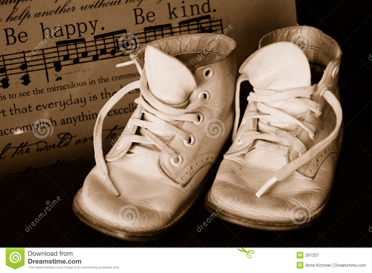 Sepia Vintage Baby Shoes stock image