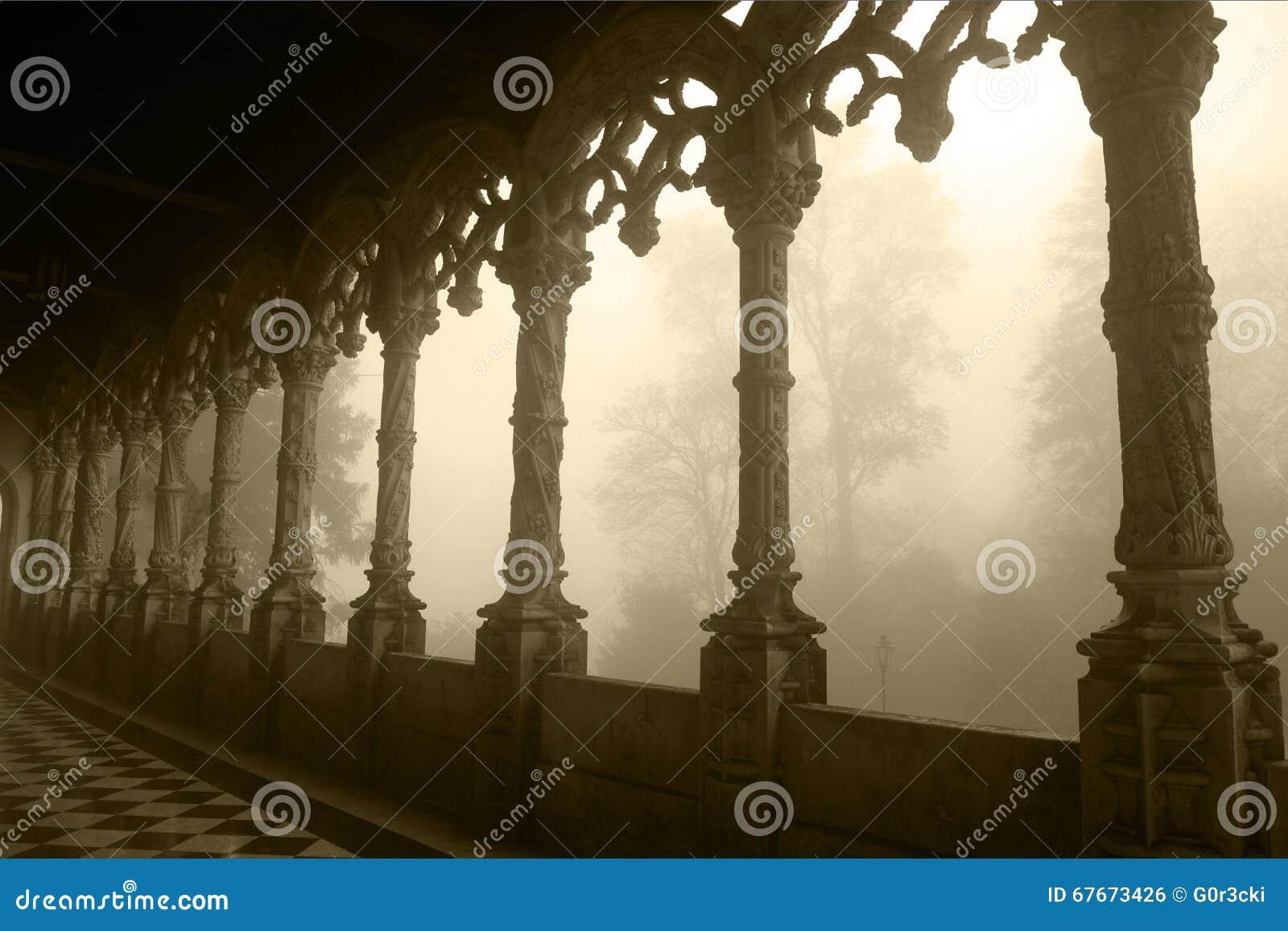 Sepiowy - Bussaco pałac Łukowata galeria na Mgłowym dniu