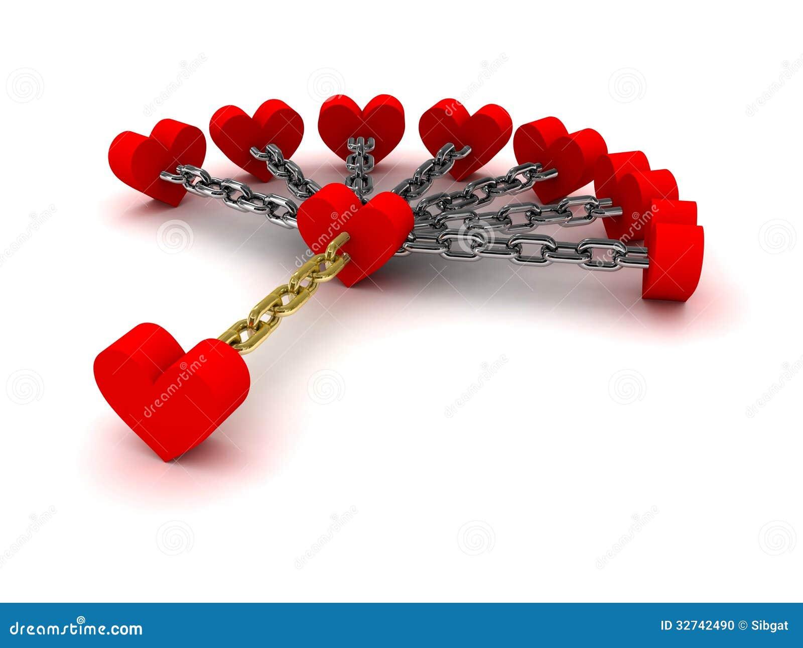 sept coeurs li s avec un coeur de la d pendance relations de pass dessus illustration stock. Black Bedroom Furniture Sets. Home Design Ideas