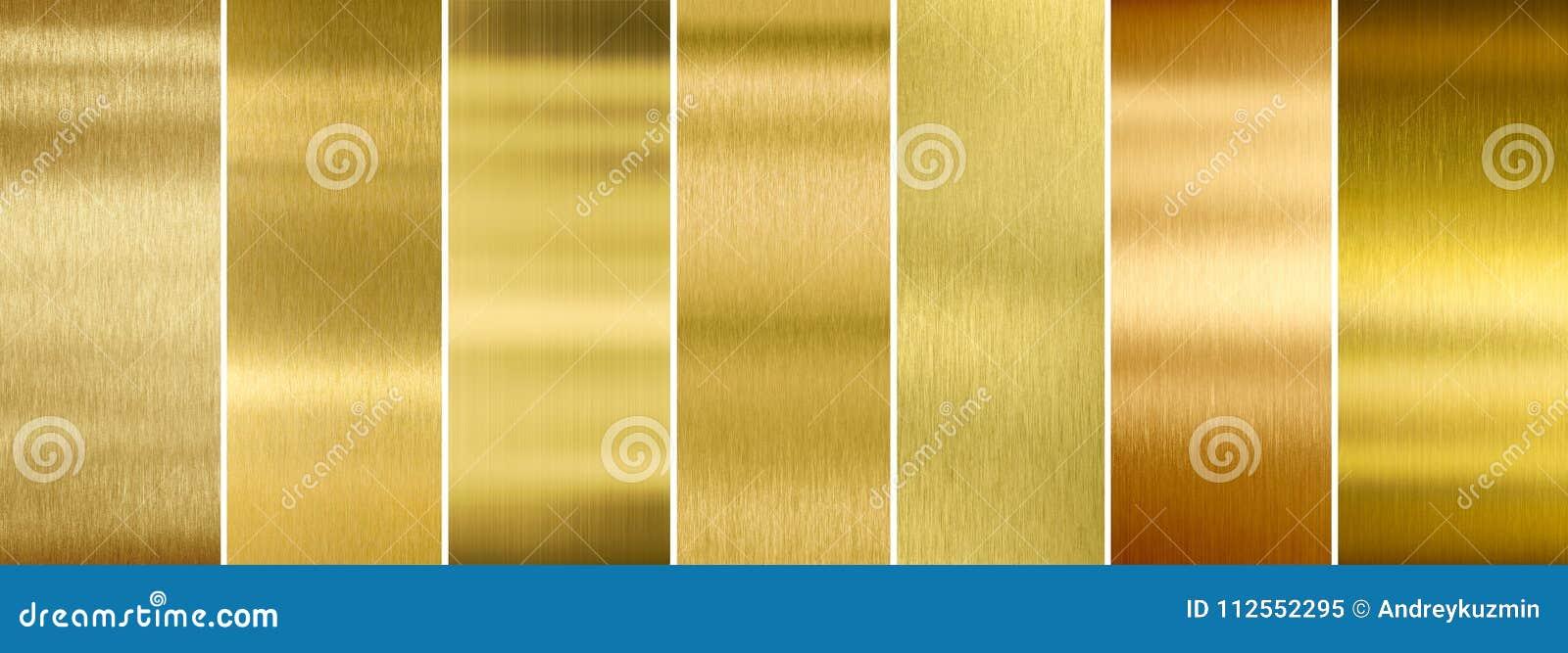 Sept diverses textures balayées en métal d or réglées