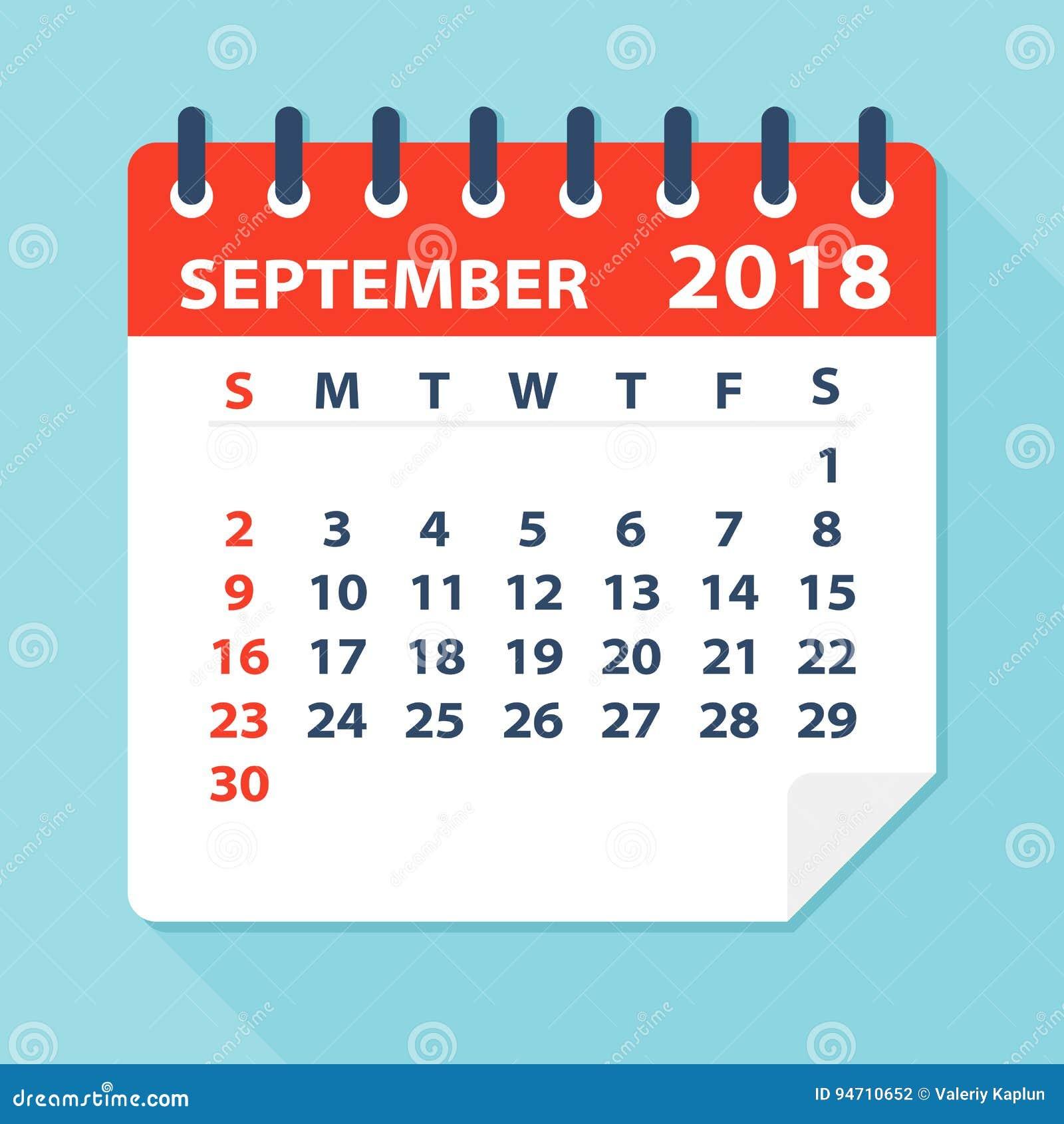 September 2018 Calendar Leaf - Illustration Stock
