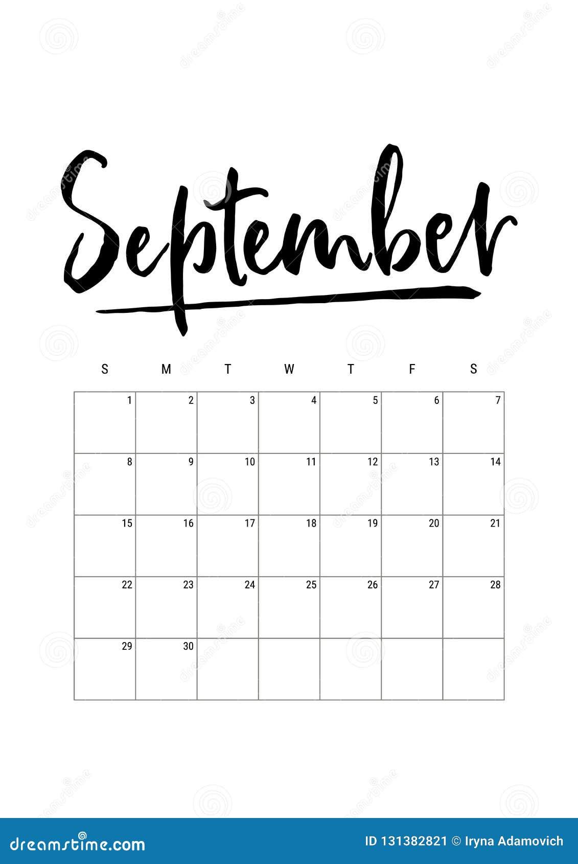 September Calendar Planner 2019 Week Starts On Sunday Part Of Sets