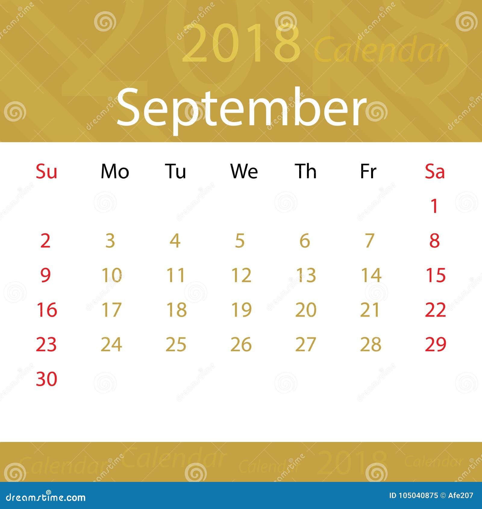 September 2018 calendar popular gold premium for business
