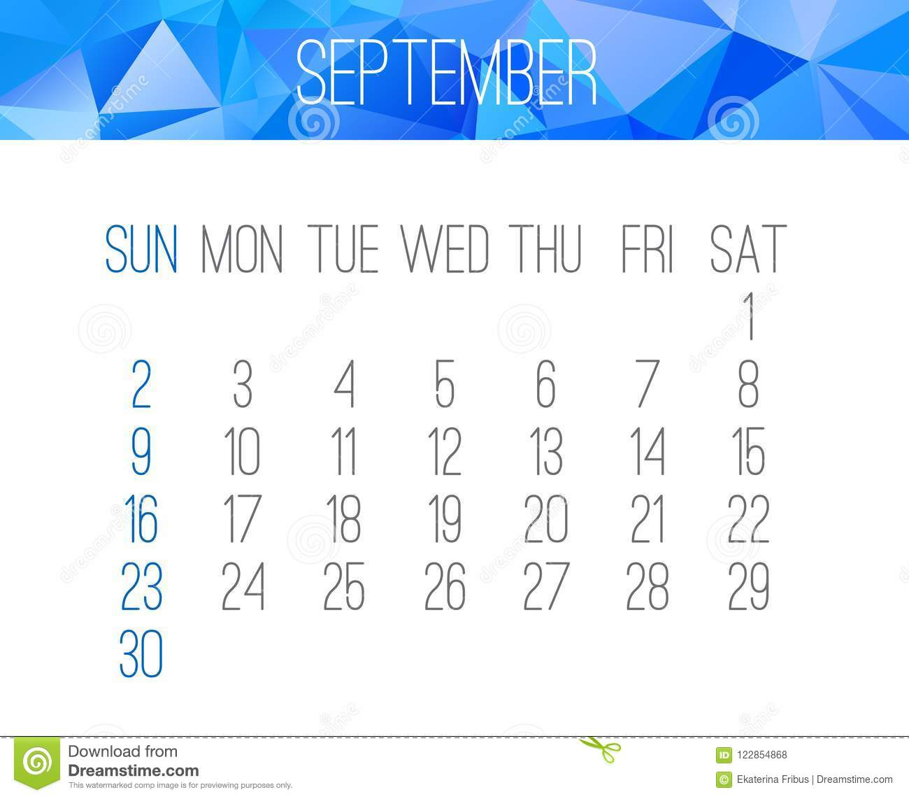 september year 2018 vector calendar week starting from sunday contemporary low poly design in blue color