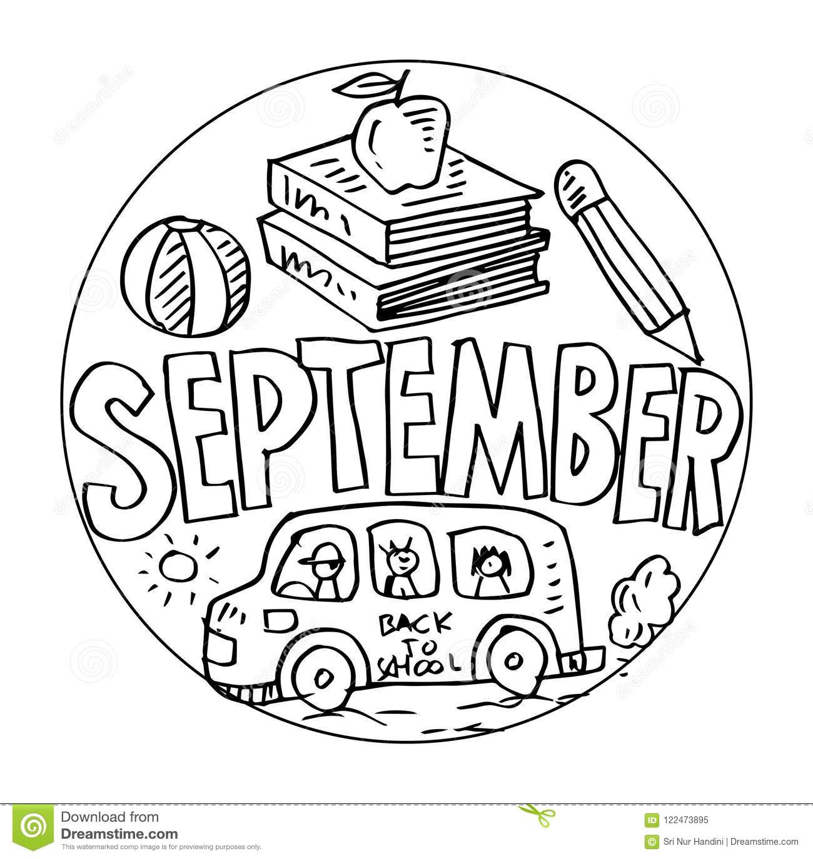 September Coloring Pages For Kids Stock Illustration ...