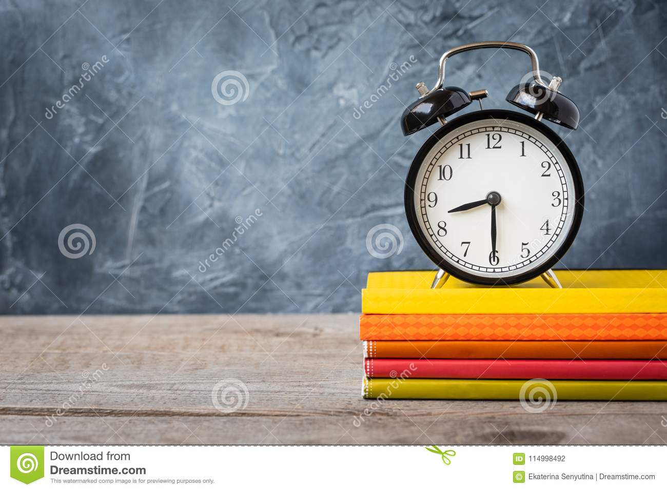 1 September concept postcard, teachers` day, back to school or college, supplies, alarm clock