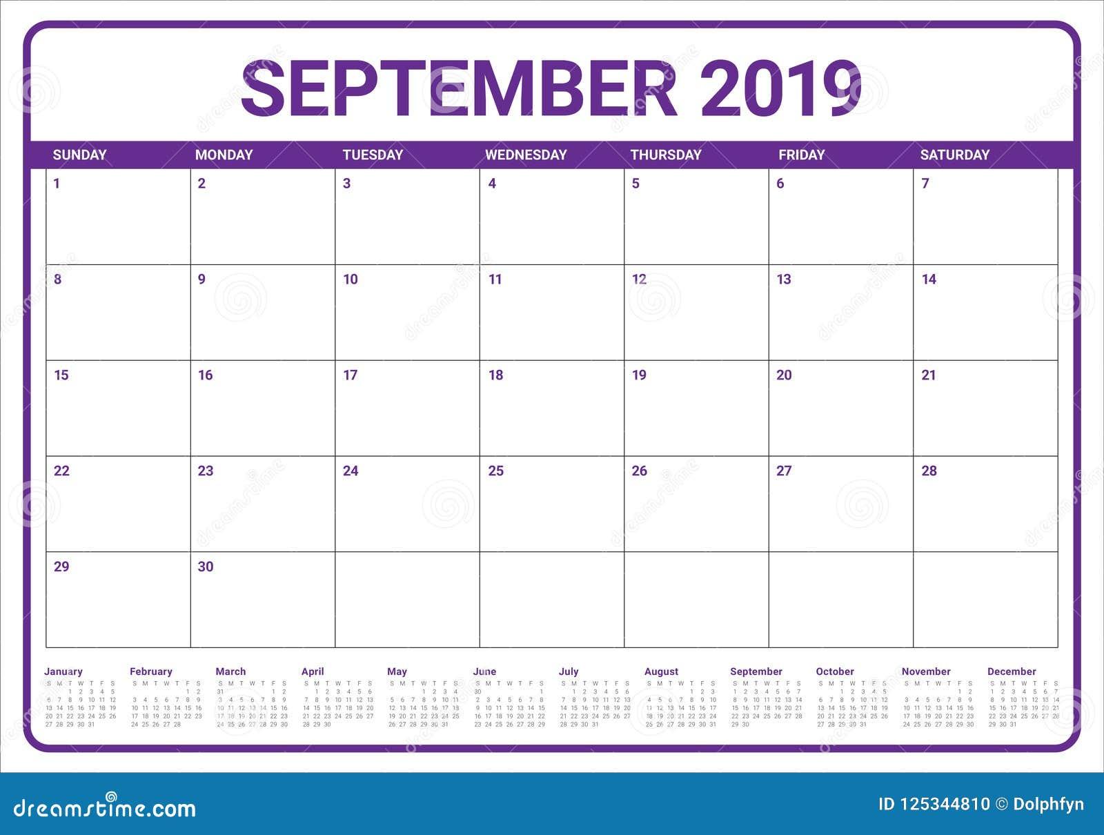 Calendar Planner September 2019.September 2019 Desk Calendar Vector Illustration Stock Vector