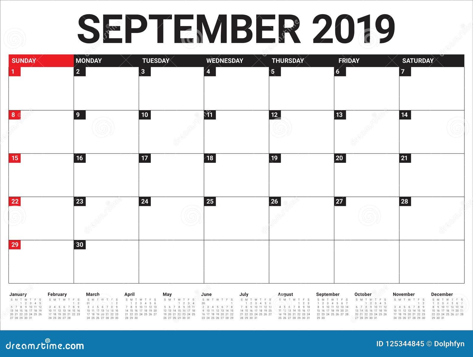 September 2019 Desk Calendar Vector Illustration Stock Vector