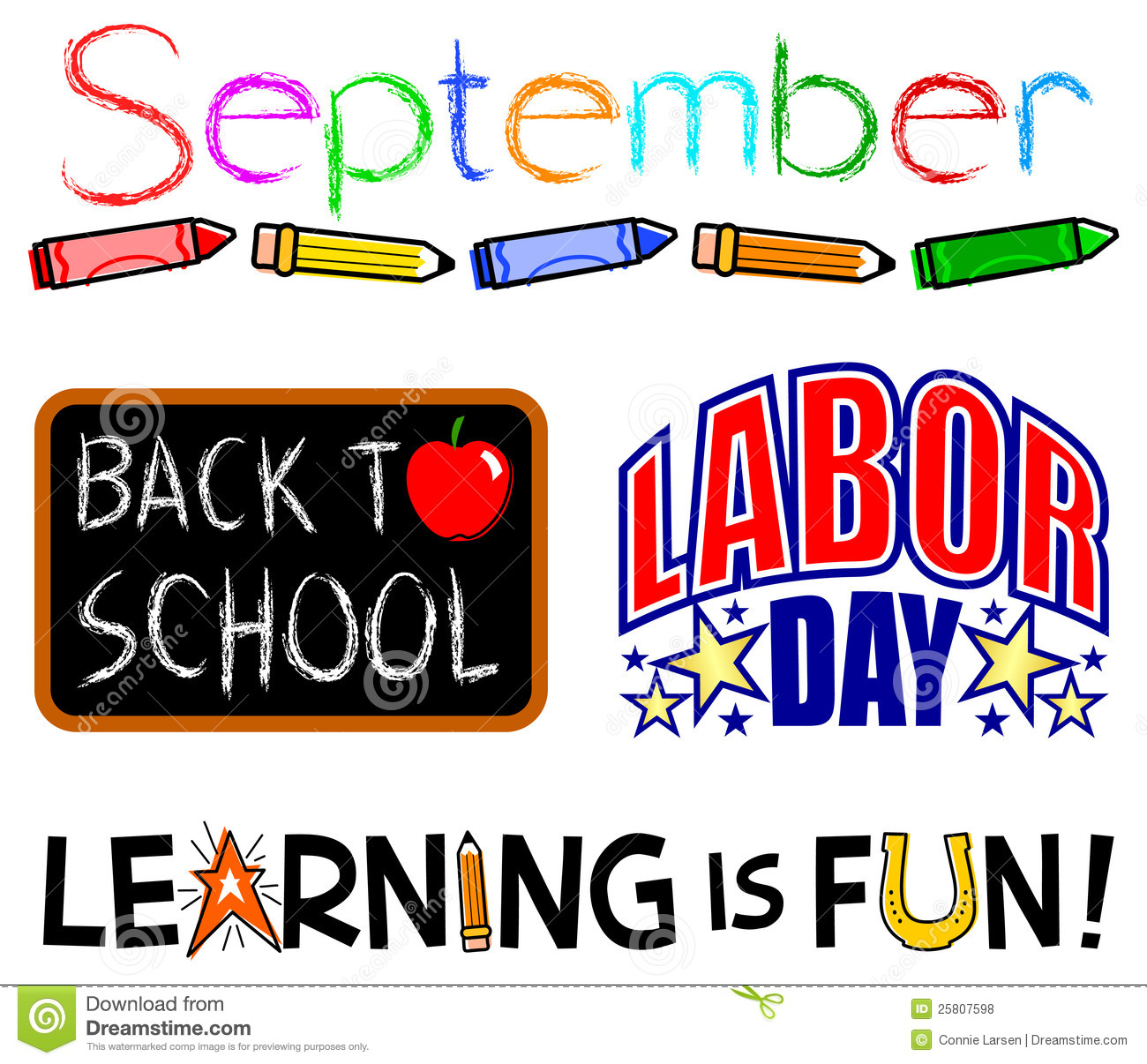 September Events Clip Set/eps. Illustrations Of September Events Including  Back To School And