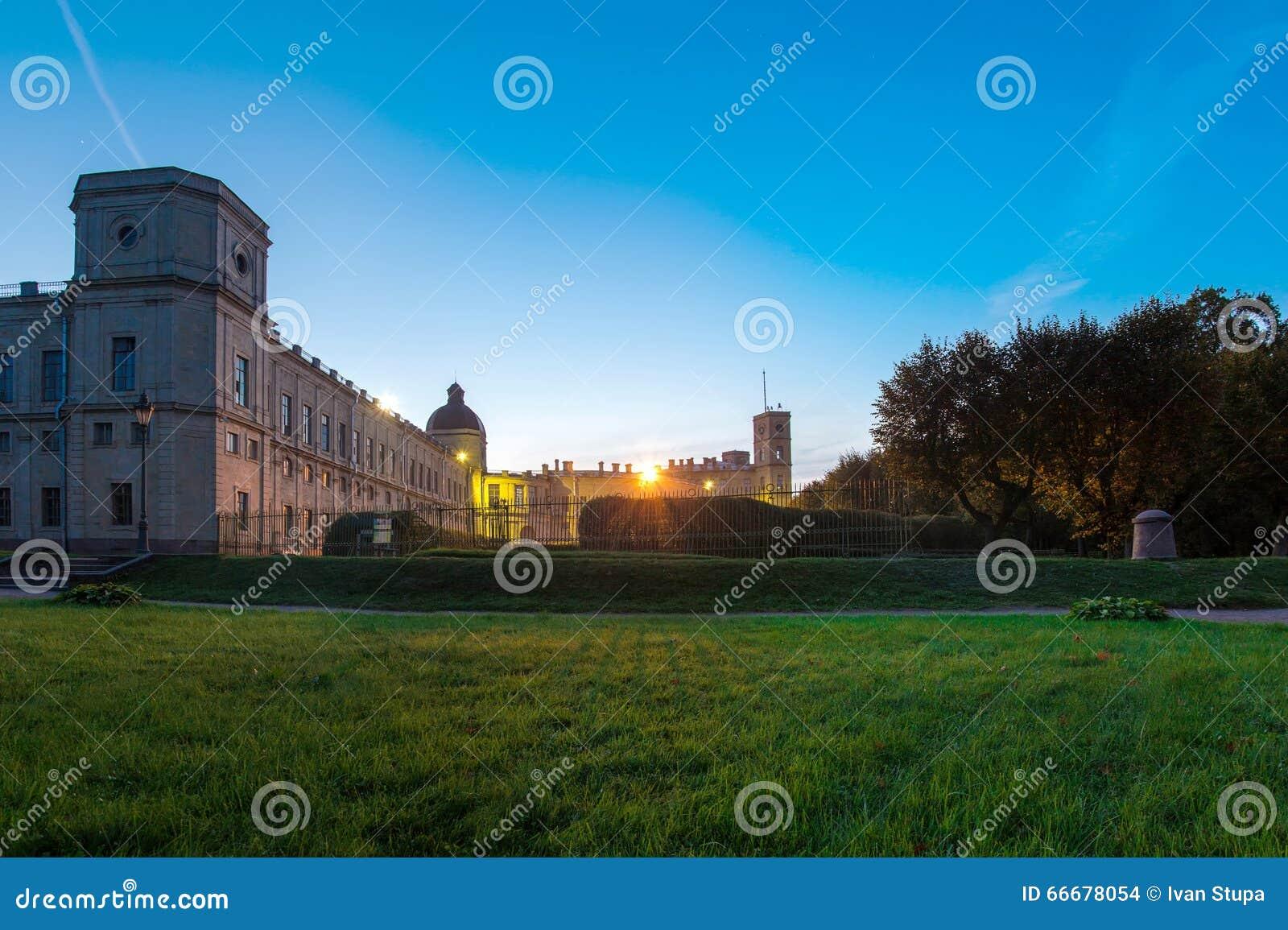 September 12, 2014, Gatchina, Ryssland, den stora Gatchina slotten, natt