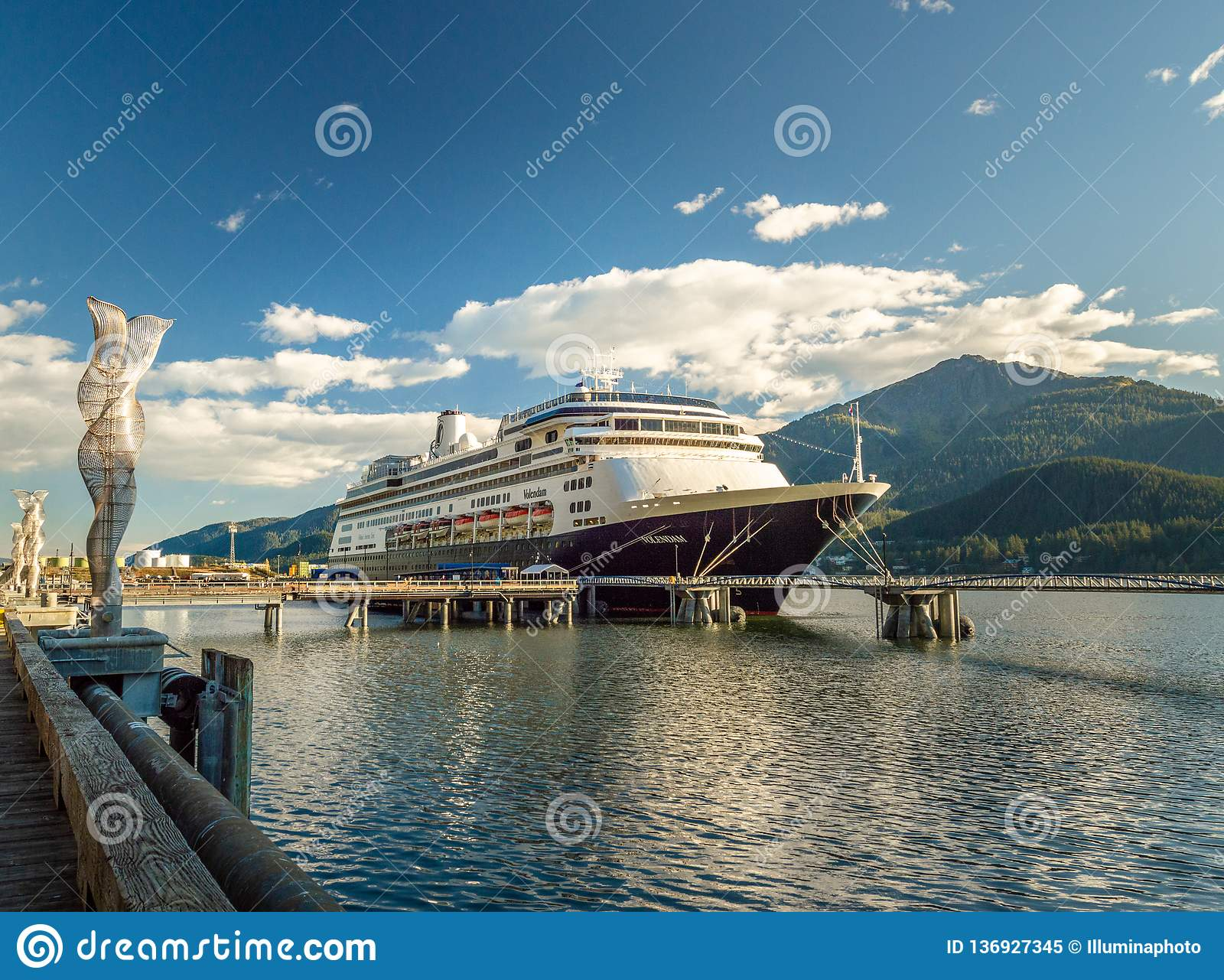 September 14, 2018 - Juneau, Alaska: The Volendam cruise ship docked in port.