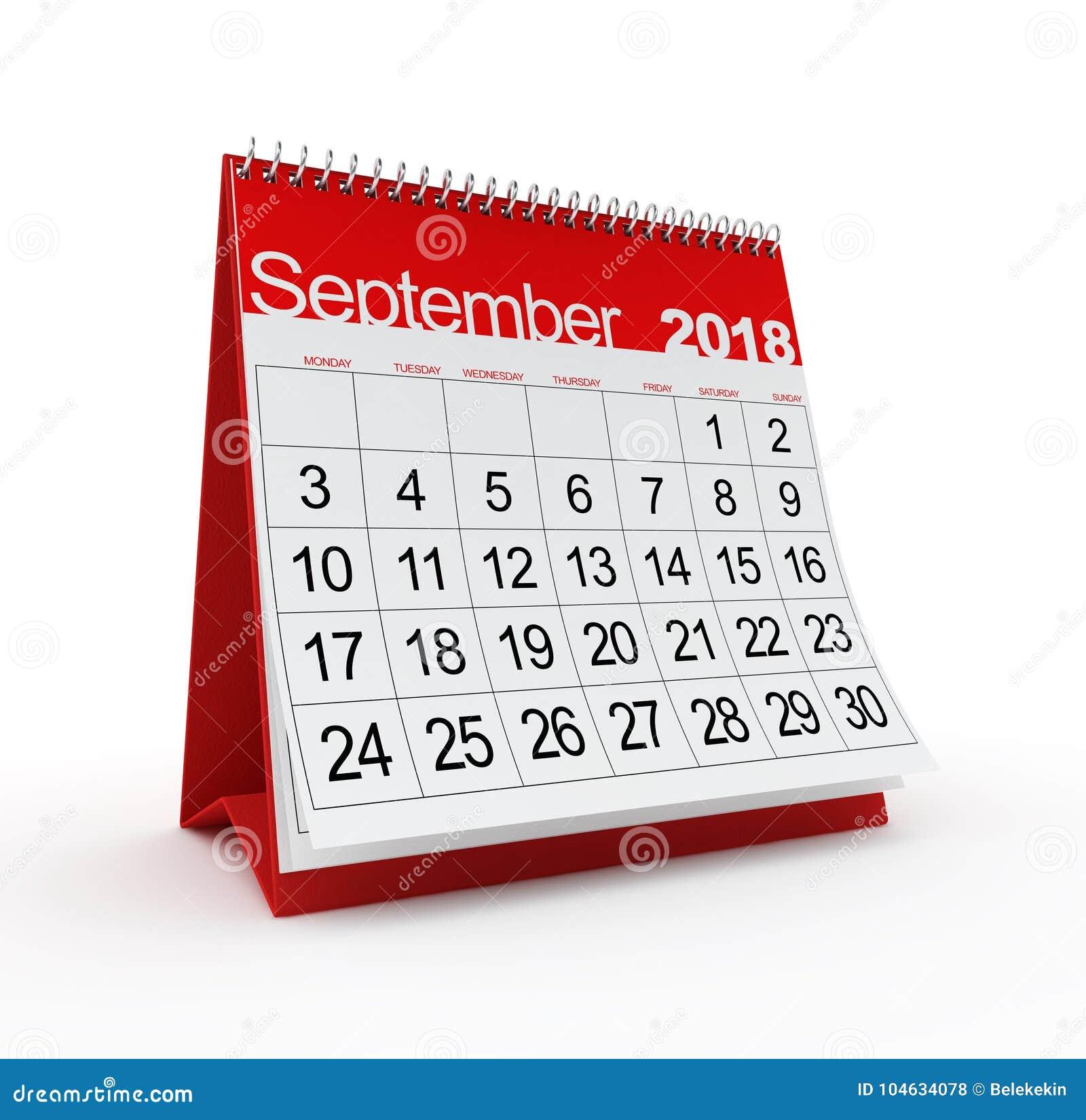Download September 2018 Maandelijkse Kalender Stock Illustratie - Illustratie bestaande uit drie, datum: 104634078