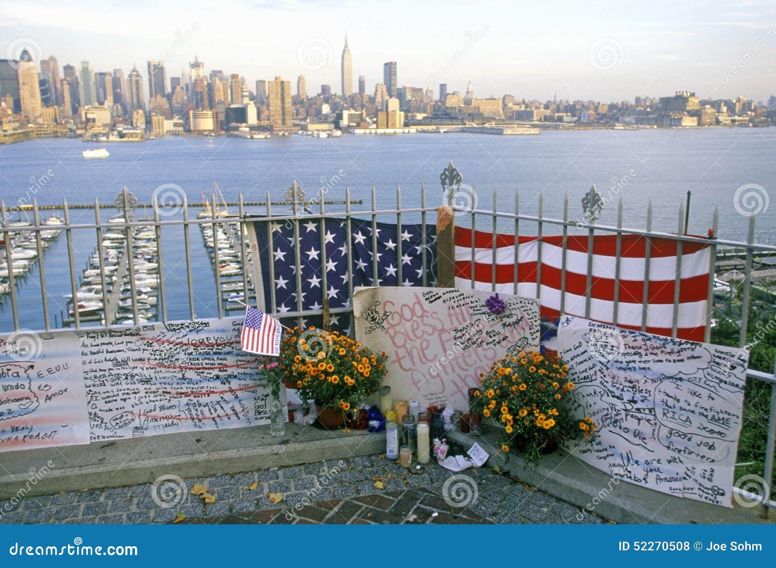 September 11 2001 Memorial On Rooftop Looking Over