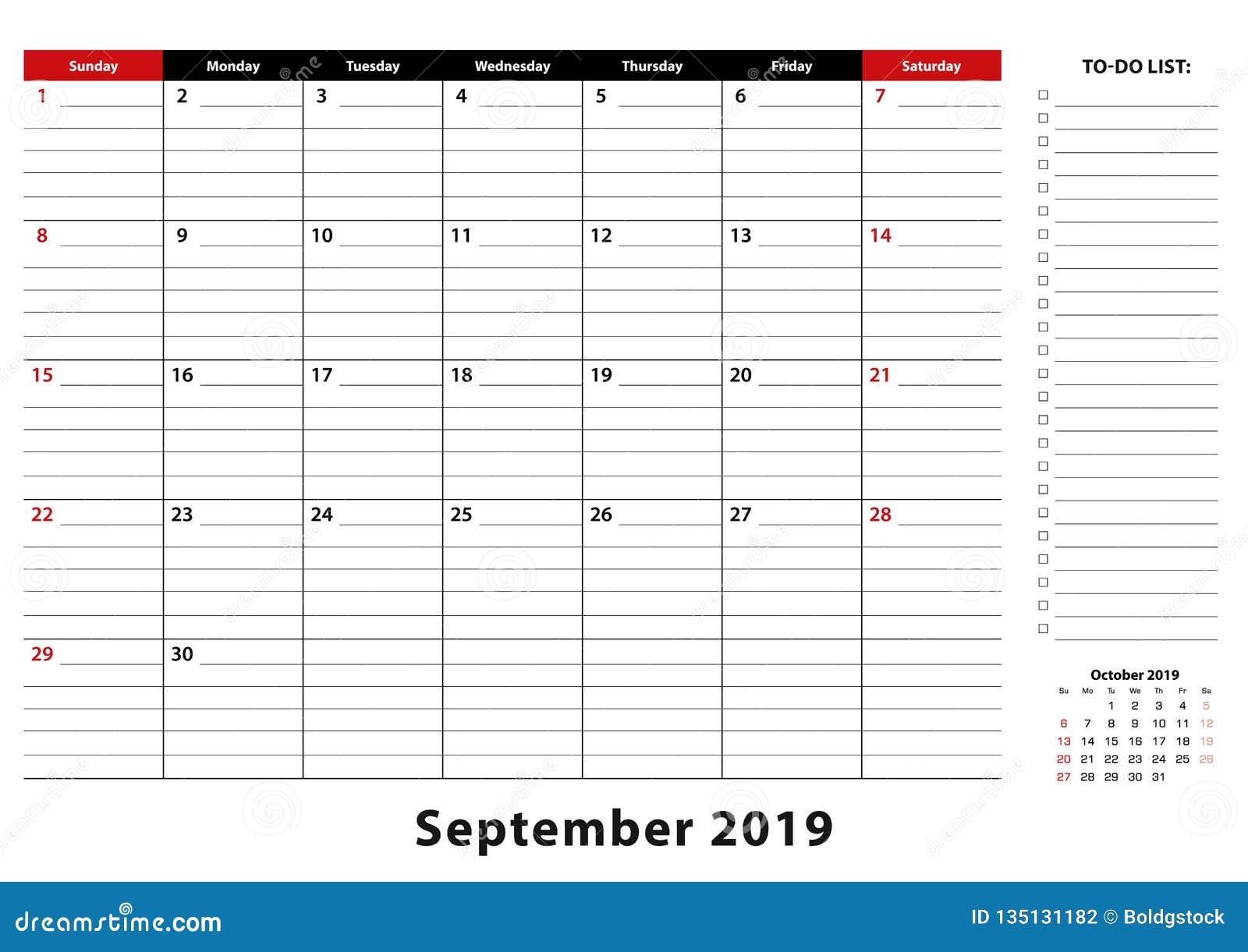 Calendar Week.September 2019 Monthly Desk Pad Calendar Week Starts From Sunday