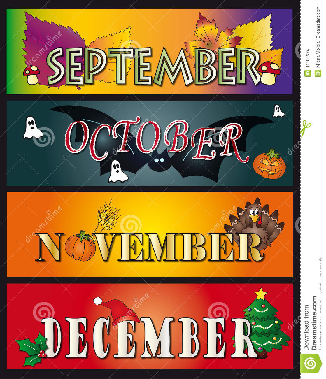Download September October November December Stock Illustration - Illustration of banners, pattern: 11180674