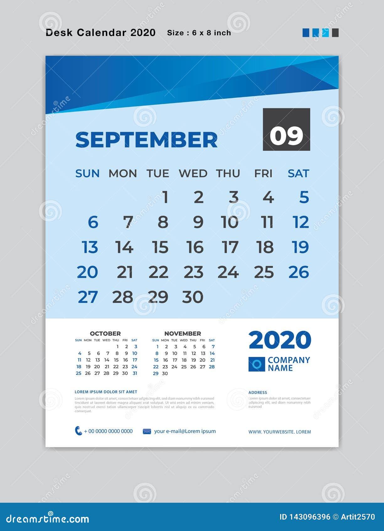 Ut Calendar 2020 SEPTEMBER 2020 Month Template, Desk Calendar For 2020 Year, Week