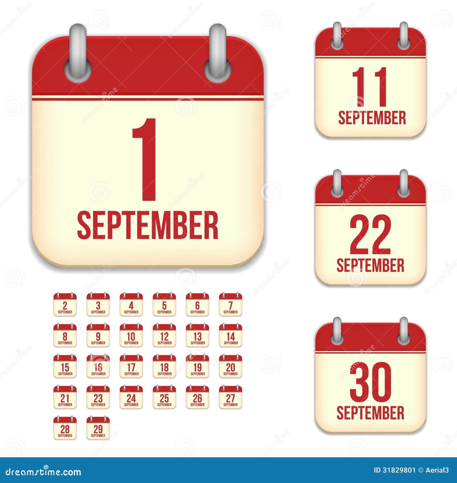 Calendar Design Icon : September vector calendar icons stock