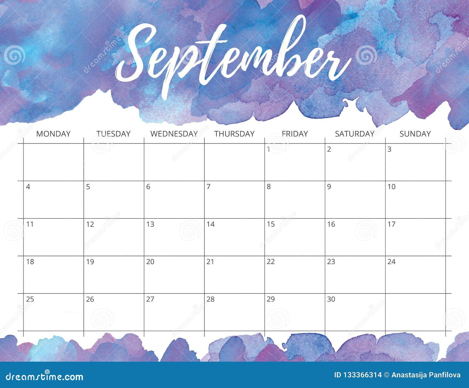 September Calendar.September Watercolor Calendar Stock Illustration Illustration Of