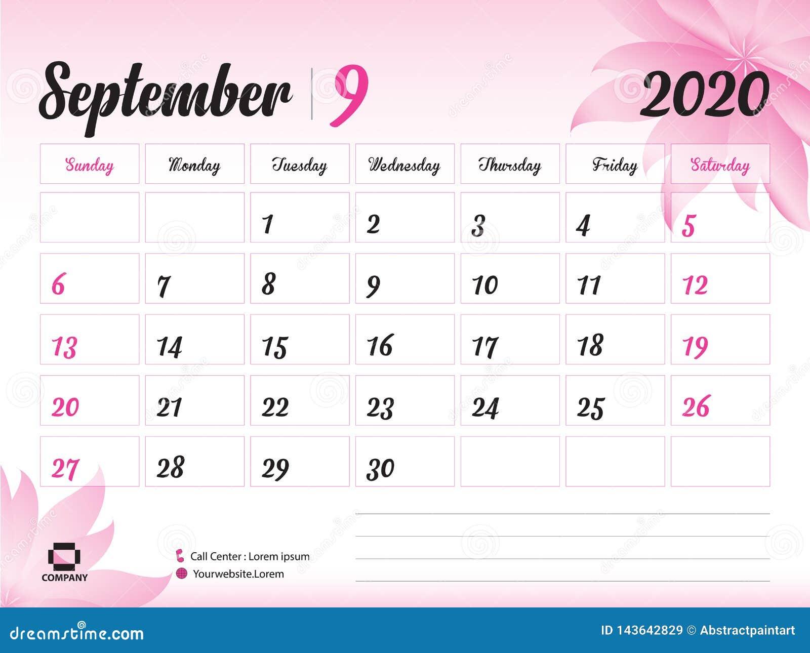 September 2020 Year Template, Calendar 2020 Vector, Desk