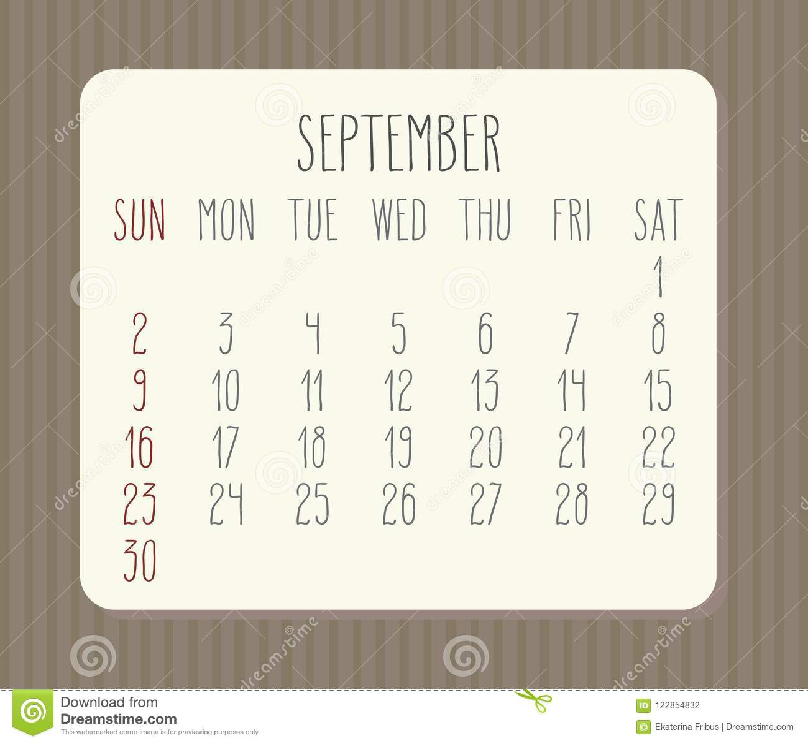 September 2018 calendar stock vector  Illustration of